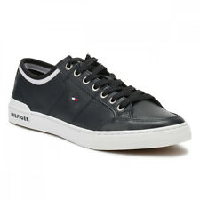 Tommy Hilfiger Mens Midnight Black Corporate Leather Trainers UK Sizes[6.5-10.5]
