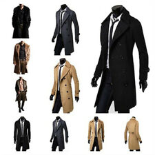Warm Winter Mens Wool Trench Coat Double Breasted Overcoat Long Jacket Outwear