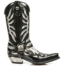 New Rock Mens M.7991-S3 Cowboy Western BLACK WHITE PITON Leather Zip Boots
