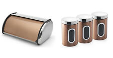 Stylish Copper 4Pc Counter Roll Top Metal Bread Bin Set W/ Tea Coffee Sugar Jars