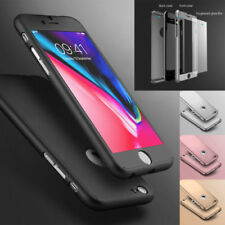 New Hybrid 360° Hard Thin Case + Tempered Glass Cover For iPhone 5 SE 6 6S 6PLUS