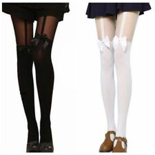 Women Long Stockings Pantyhose Mock Suspender Bowknot Over The Knee Tights NEW