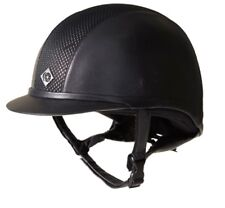 Charles Owen AYR8 Leather Look Riding Hat Helmet black/silver mesh PAS015:2011
