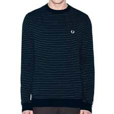 Fred Perry Textured Yarn Striped Crew Neck Sweater Men's Sweatshirt Top - Navy