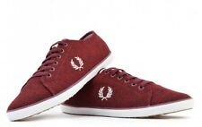 Fred Perry Kingston Jersey Trainers Plimsolls Pumps Casual Shoes B9094-122 - Red