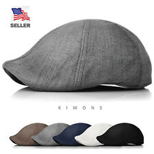 Duckbill Linen Newsboy Cotton Gatsby Cap Mens Ivy Hat Golf  Summer Sun Flat