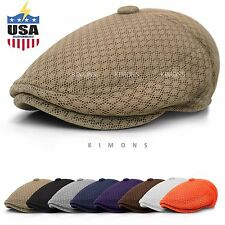 Button Mesh Newsboy Gatsby Cap Mens Ivy Hat Golf Driving Summer Sun Flat Cabbie