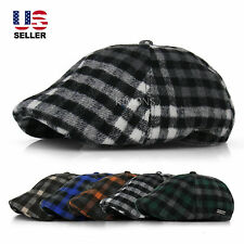 EM Plaid Wool Duckbill Stripe Gatsby Cap Mens Ivy Hat Golf Driving Flat Newsboy