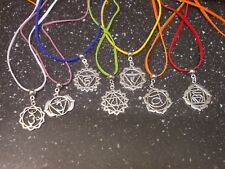 Chakra Pendant on snake chain Silver plate/coloured faux suede Necklace