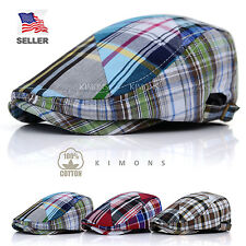 Plaid Ivy Hat Cotton Buckel Gatsby Cap Mens Golf Driving Summer Sun Flat Newsboy