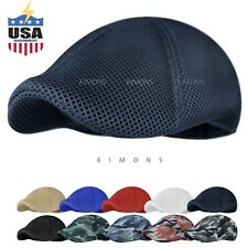 Soft Mesh Newsboy Gatsby Cap Mens Ivy Hat Golf Driving Summer Sun Flat Cabbie