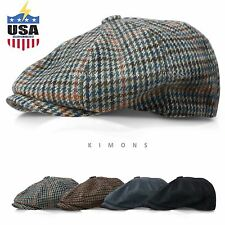 Applejack Wool Houndstooth Plaid Ivy Hat Gatsby Cap Golf Cabbie Flat Newsboy