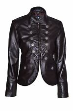 Luxury Ladies Party Jacket Brown Real Soft Nappa Leather Military Style Design