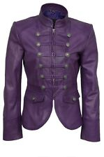 Luxury Ladies Party Jacket Purple Real Soft Nappa Leather Military Style Design