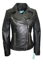 New Luxury Ladies City Jacket Black Real Soft Nappa Leather Casualm Style Design