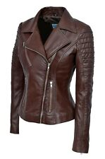 New Luxury Ladies City Jacket Brown Real Soft Nappa Leather Casualm Style Design