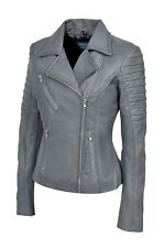 New Luxury Ladies City Jacket Grey Real Soft Nappa Leather Casualm Style Design