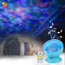 Baby Cot Ocean Wave LED Projector Night Light Music Relaxing Remote Lamp Gift EA