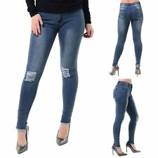 Womens Ladies Knee Destroyed Distress Ripped Faded Slim Skinny Fit Denim Jeans
