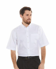 Savile Row Men's White Pinpoint Classic Fit Short Sleeve Button-Down Casual Shir