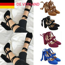 Damen Sommerschuhe Lace Up Blockabsatz High Heels Modische Pumps Party Sandalen