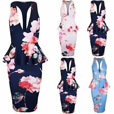 Womens Peplum Frill V Plunge Neck Floral Muscle Racer Back Bodycon Mini Dress