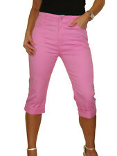 Womens Stretch Capri Cropped Turn Cuff Jeans Pink NEW 10 - 20