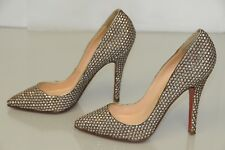 NEW Christian Louboutin Sequin JEWELED Pigalle Silver Pumps Heels Shoes 37