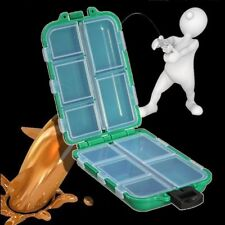 TACKLE BOX STORAGE CASE FLY FISHING LURE HOOK BAIT 1012 COMPARTMENTS GREEN BLUE