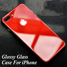 Glossy Tempered Glass Back Bumper Protective Case Cover For iPhone X 8 7 6 Plus