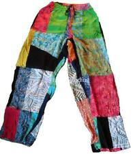 commercio equo solidale INDONESIANO Multicolore Patchwork Hippy Festy pantaloni
