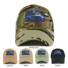 USA Navy Thin Blue Flag Tactical Patch Cotton Adjustable Trucker Cap - FREE SHIP