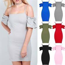 Womens Ladies Strappy Square Neck Bodycon Ruffle Sleeve Cold Shoulder Mini Dress