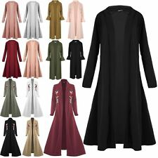 Womens Long Cardigan Open Front Maxi Floaty Flared Ladies  Waterfall Trench Coat