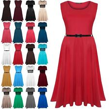 Womens Ladies Plain Belted Sleeveless Swing Midi Skater Dress Plus Size UK 8-30