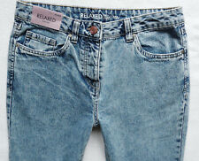 BNWT NEXT Relaxed tapered leg acid blue wash High rise MOM  jeans buttons R/L