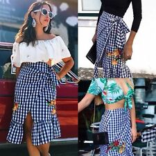 Zara Gingham Check Floral Embroidered Frilled Midi Wrap Skirt Blue White M BNWT