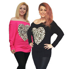 Batwing top with studded leopard heart to front - plus sizes too
