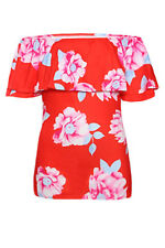 New Red or Blue Floral Off Shoulder Short Sleeve Ruffle Top Blouse Sizes 10 12
