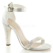 Sandali Gioiello Donna Strass Raso AVORIO SPOSA Tacco 11,5 Pleaser Clearly-436