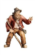 Shepherd pointing, statue wood carving for Nativity set mod. 912