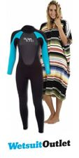 2018 Billabong Ladies Launch Wetsuit 5/4/3mm Turquoise + Salty Hooded Towel Offe