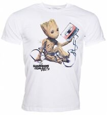 Official Men's White Baby Groot And Cassette Guardians Of The Galaxy T-Shirt