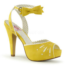 Sandali Scarpe Donna Giallo Pelle Tacco Alto 12 Plateau Pin Up Pleaser BETTIE-01