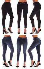 WOMENS STRETCHY TROUSERS SKINNY FIT JEANS LADIES DENIM LOOK JEGGING PLUS SIZE