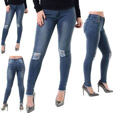 Womens Ladies Faded Ripped Knee Destroyed Distress Slim Skinny Fit Denim Jeans