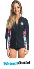Rip Curl Ladies The Wettie Front Zip Long Sleeve Rash Chaleco negro WLUGNW