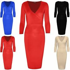 Womens Wrap Cross Over 3/4 Sleeve V Neck Ladies Stretch Bodycon Party Midi Dress