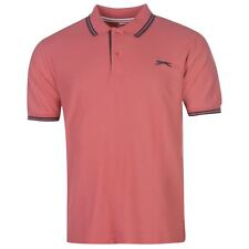 NEW Slazenger TIPPED Men's Cotton Polo Shirt Tennis Golf Sport M-L-XL SLATE ROSE