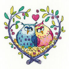 Heritage Crafts Birds Of A Feather Cross Stitch Kit - Love Owls